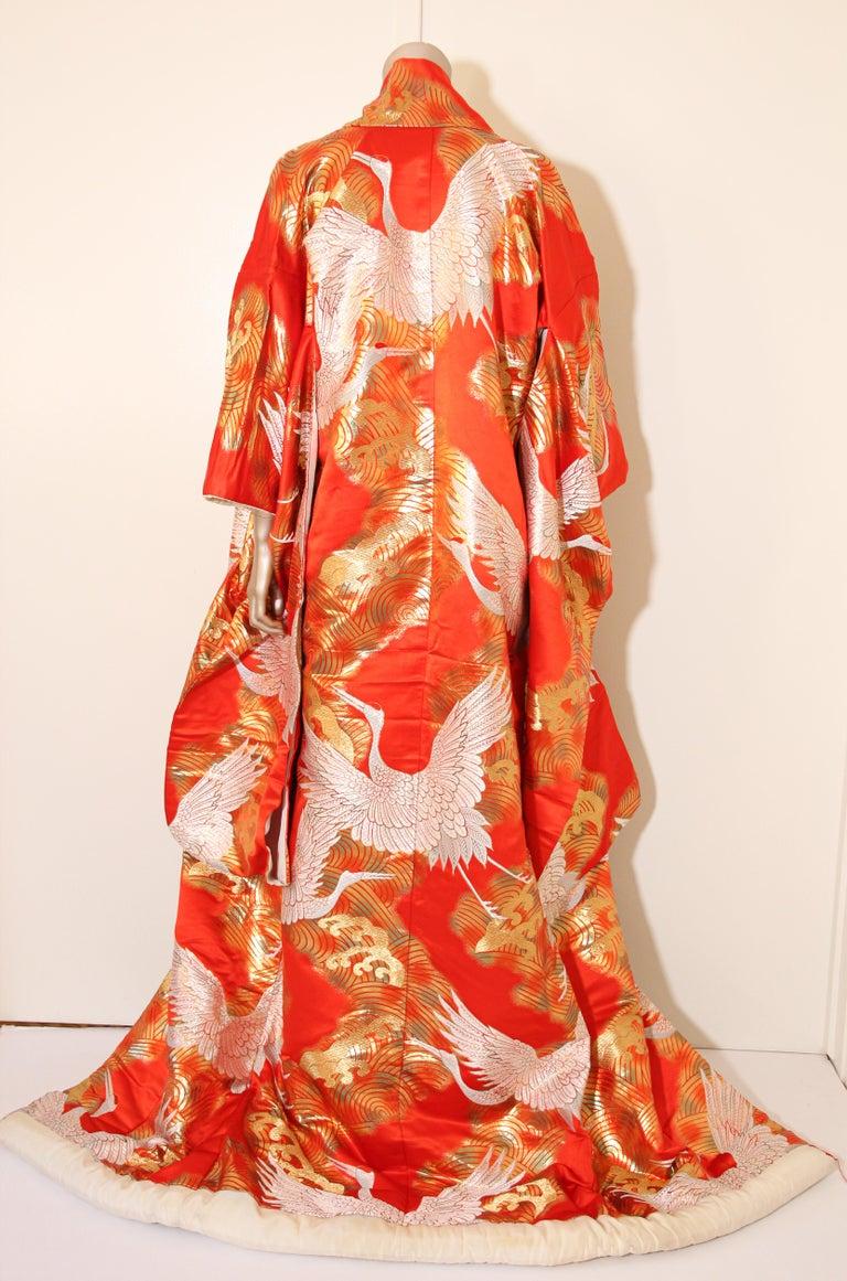 Vintage Red Silk Brocade Japanese Ceremonial Wedding Kimono For Sale 9