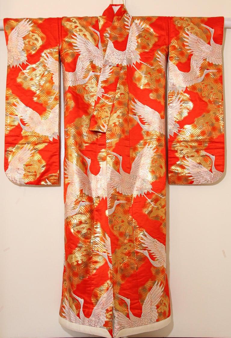 Vintage Red Silk Brocade Japanese Ceremonial Wedding Kimono For Sale 10