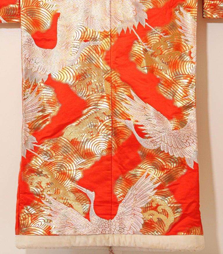 Vintage Red Silk Brocade Japanese Ceremonial Wedding Kimono For Sale 11