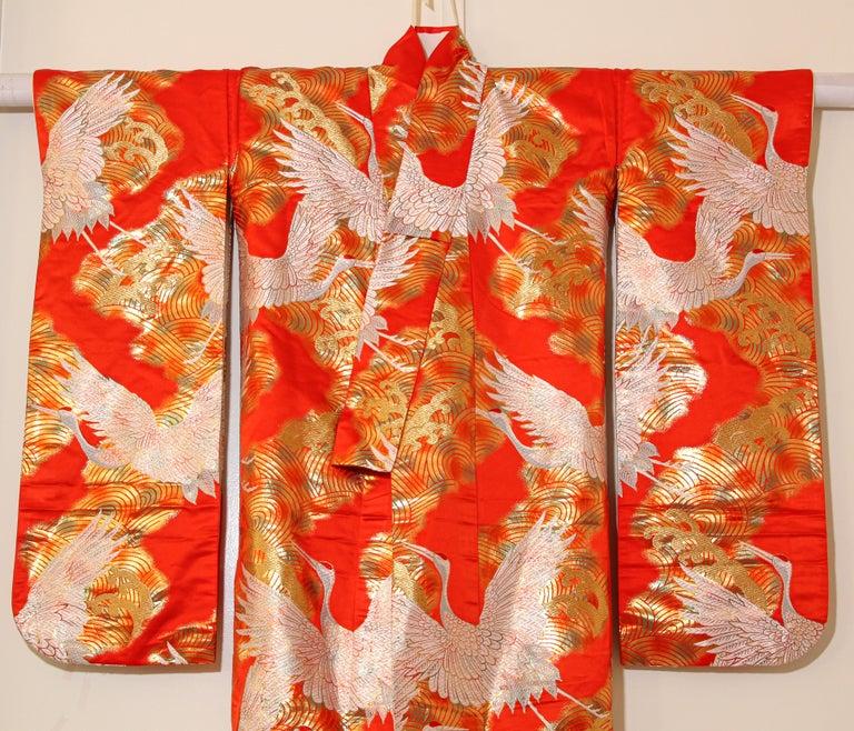Vintage Red Silk Brocade Japanese Ceremonial Wedding Kimono For Sale 12
