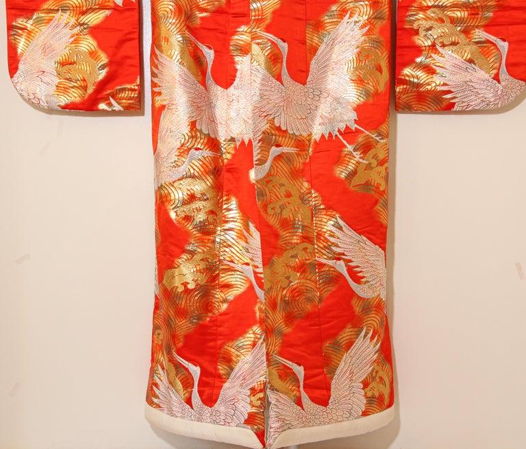 Vintage Red Silk Brocade Japanese Ceremonial Wedding Kimono For Sale 13