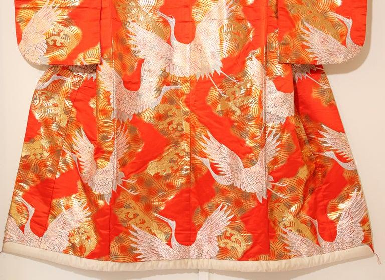 Vintage Red Silk Brocade Japanese Ceremonial Wedding Kimono For Sale 14
