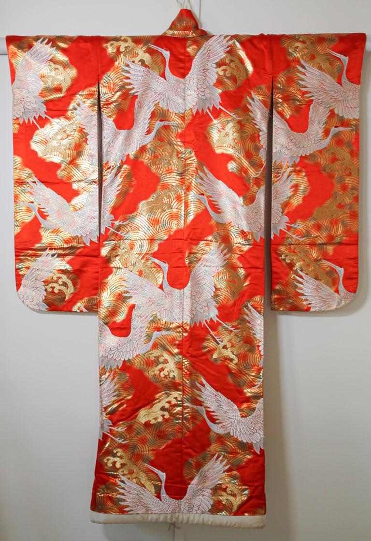 Japonisme Vintage Red Silk Brocade Japanese Ceremonial Wedding Kimono For Sale
