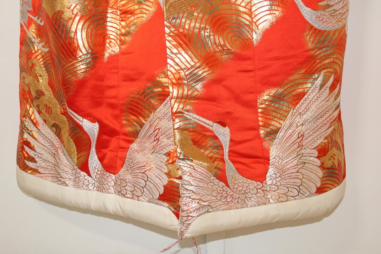 Vintage Red Silk Brocade Japanese Ceremonial Wedding Kimono For Sale 1