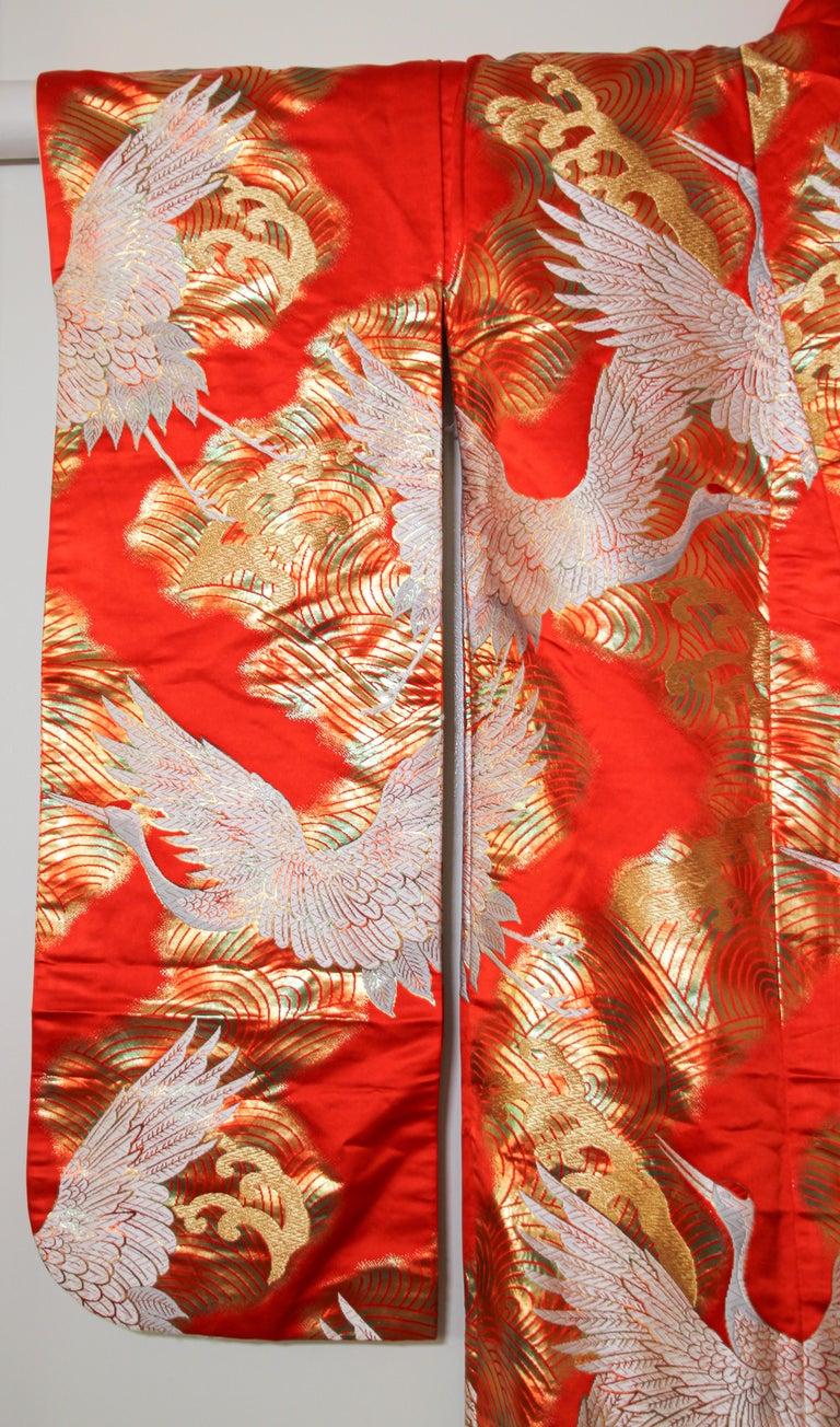 Vintage Red Silk Brocade Japanese Ceremonial Wedding Kimono For Sale 2