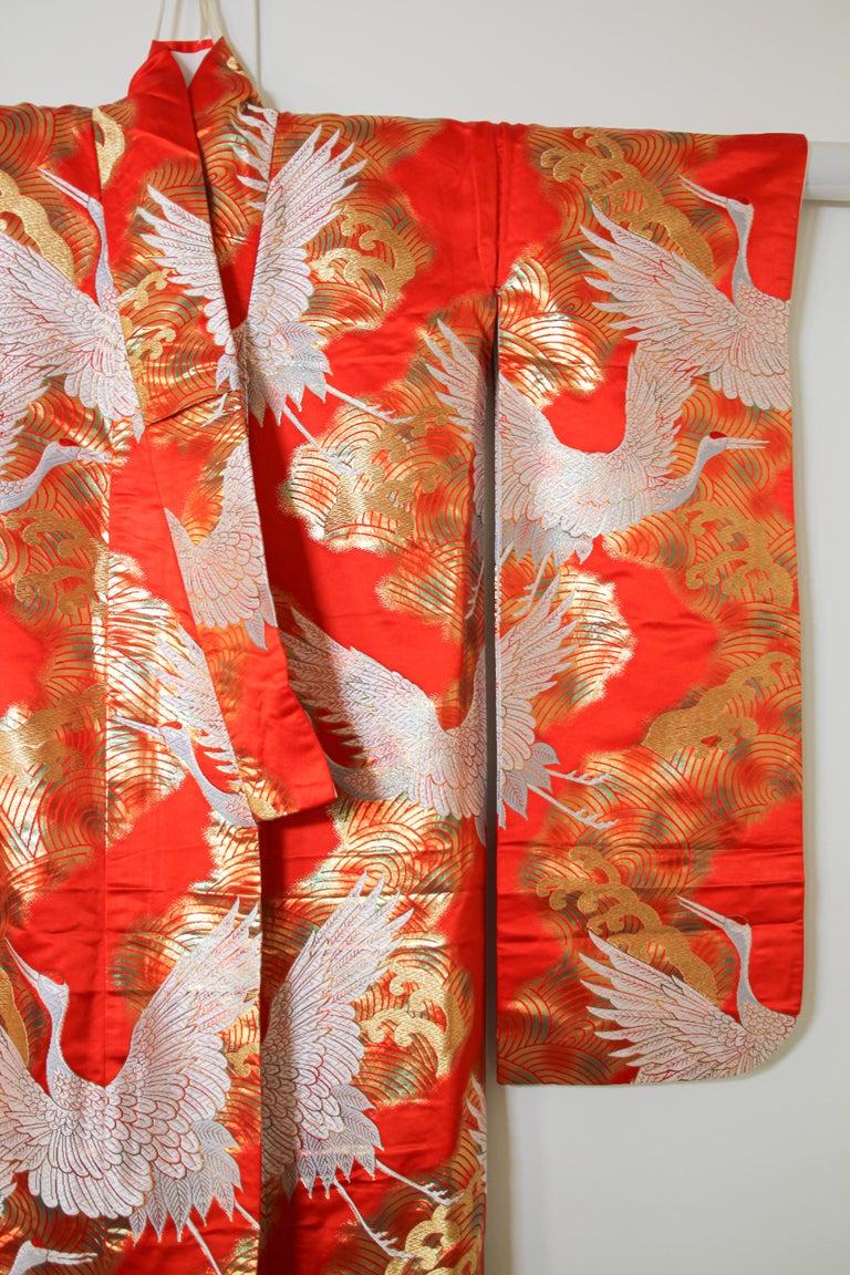 Vintage Red Silk Brocade Japanese Ceremonial Wedding Kimono For Sale 3