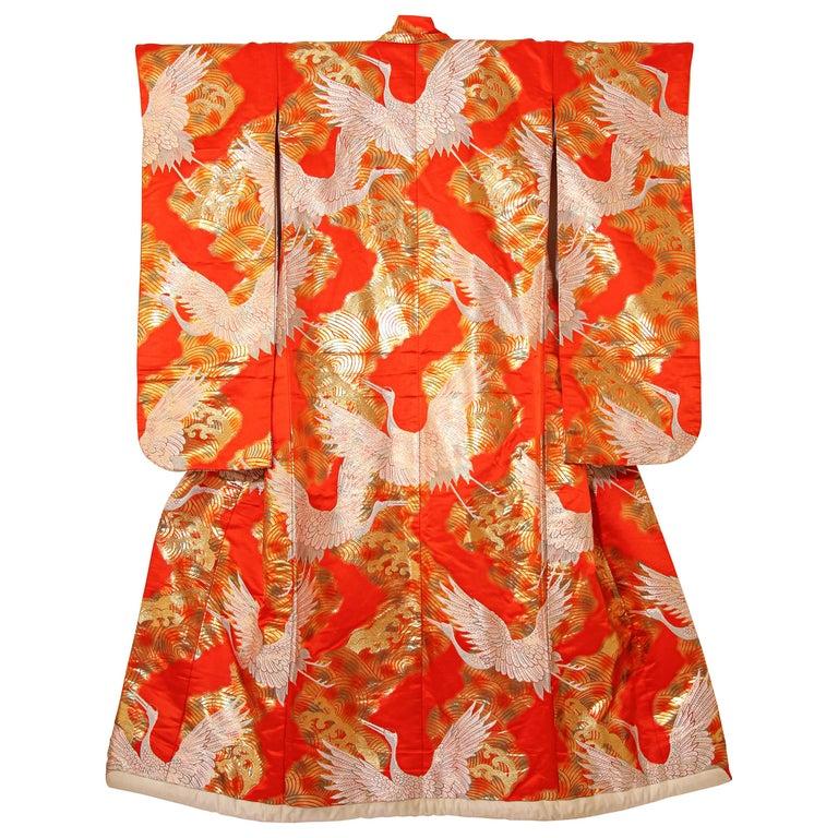 Vintage Red Silk Brocade Japanese Ceremonial Wedding Kimono For Sale