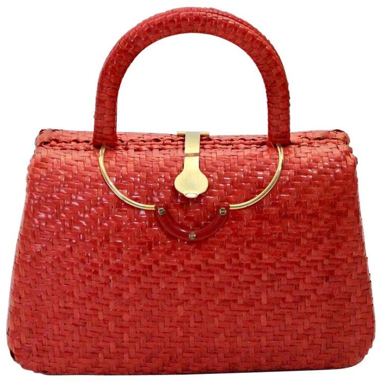 079a7d90d4767 Rote Vintage Stroh Rattan Korb Griff Tasche mit Messing Verschluss ...
