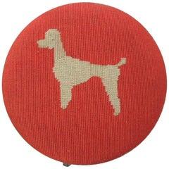 "Vintage Red Tapestry ""Poodle"" Milking Stool"