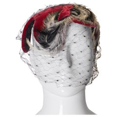 Vintage Red Velvet , Feather and Net Hat