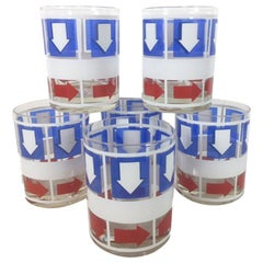 Vintage Red, White and Blue Rocks Glasses by Bartrix