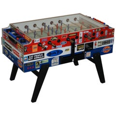 Vintage Red White & Blue Foosball Table Football Covered in Pop Culture Stickers