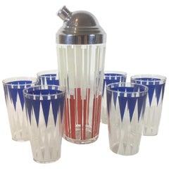 Vintage Red, White & Blue Shaker Set, 6 Tumblers, Chrome Topped Cocktail Shaker