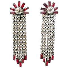 Vintage Red & White Crystal Cascade Cocktail Earrings 1980s