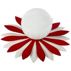 Vintage Red & White Flower Petal Ceiling Light