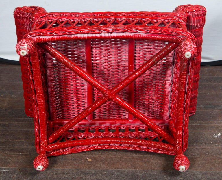 Vintage Red Wicker/Rattan Bench For Sale 4