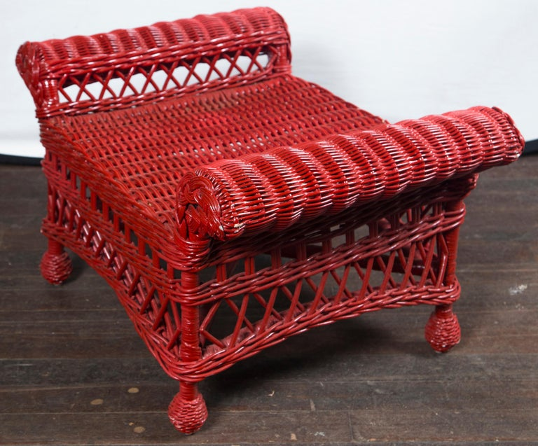 Vintage Red Wicker/Rattan Bench In Good Condition For Sale In Stamford, CT