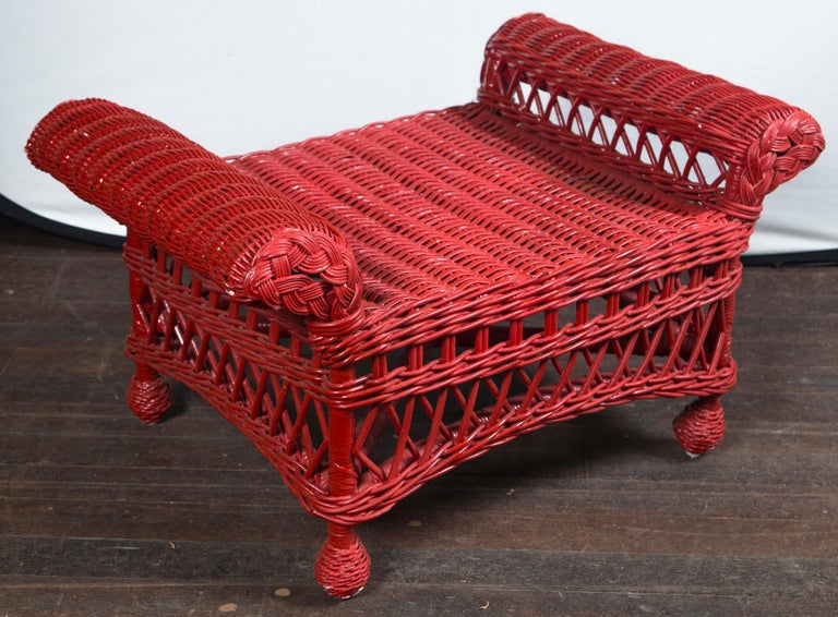 Mid-20th Century Vintage Red Wicker/Rattan Bench For Sale