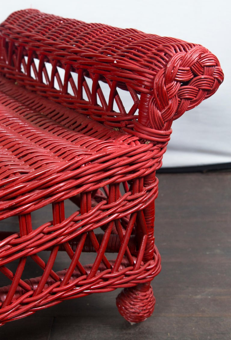 Vintage Red Wicker/Rattan Bench For Sale 1
