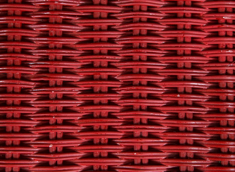 Vintage Red Wicker/Rattan Bench For Sale 2