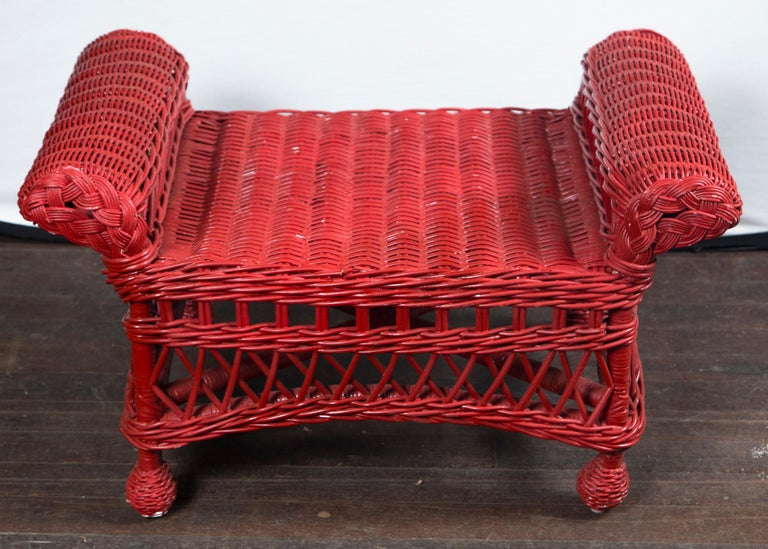 Vintage Red Wicker/Rattan Bench For Sale 3