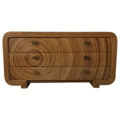 Vintage Reeded Bamboo Wicker Rattan Dresser Credenza