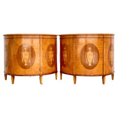 Vintage Regency Marquetry Demilune Cabinets, a Pair
