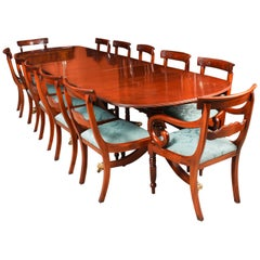 Vintage Regency Revival Dining Table by William Tillman & 12 Chairs 20th Century