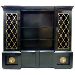 Vintage Regency Style Ebonized Breakfront Cabinet with Brass Grillwork