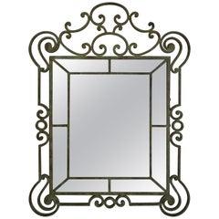 Vintage Regency Style Iron Mirror after Gilbert Poillert