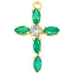 Vintage Religious 0.95 Carat Diamond Emerald Cross in 14 Karat Yellow Gold