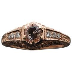 Vintage Remake 14 Karat Rose Gold Pink Sapphire and Diamonds Ring
