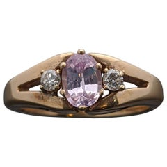 Vintage Remake 14 Karat Yellow Gold with Pink Sapphire and Diamond Ring