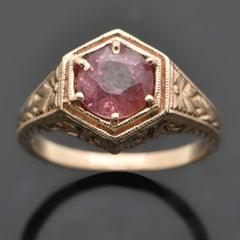 Vintage Remake Art Deco Style 14kt Rose Gold Pink Sapphire Ring