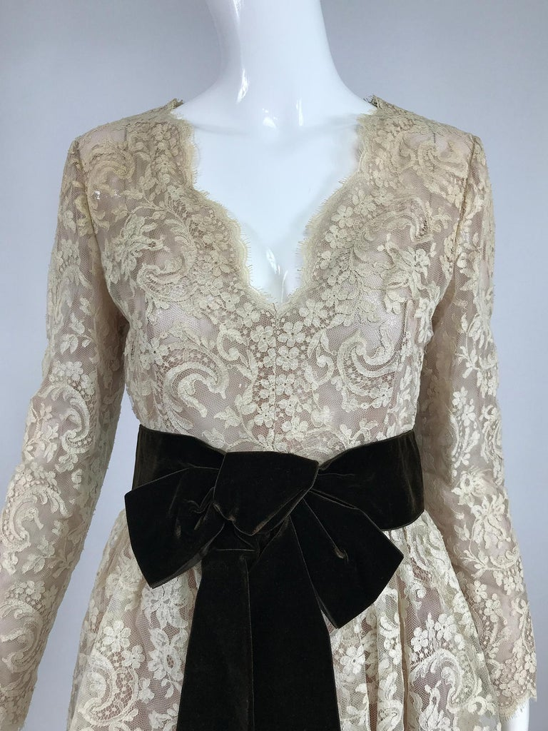 Vintage Rembrandt 1960s Cream Lace Baby Doll Dress For Sale 6