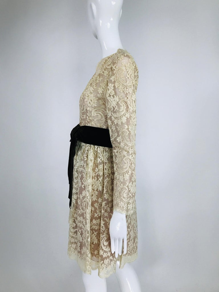 Gray Vintage Rembrandt 1960s Cream Lace Baby Doll Dress For Sale