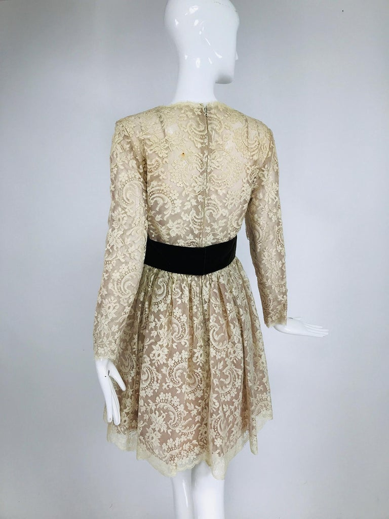 Women's Vintage Rembrandt 1960s Cream Lace Baby Doll Dress For Sale