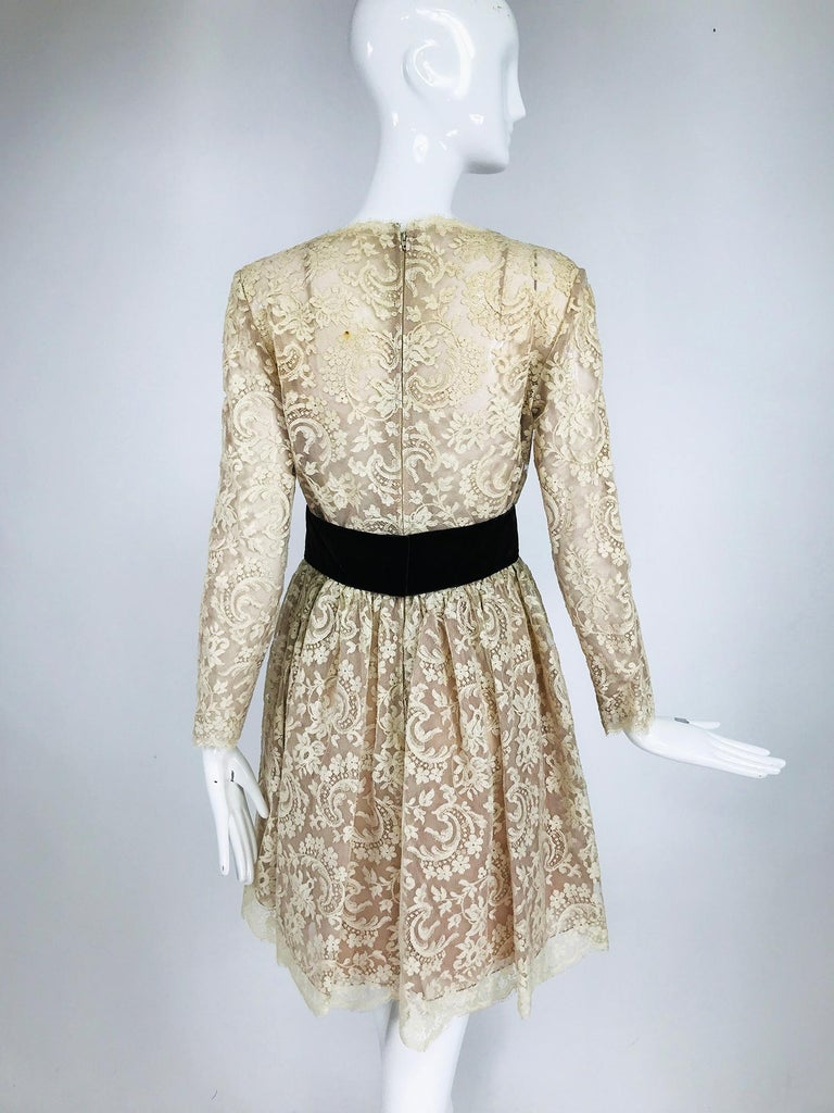 Vintage Rembrandt 1960s Cream Lace Baby Doll Dress For Sale 1