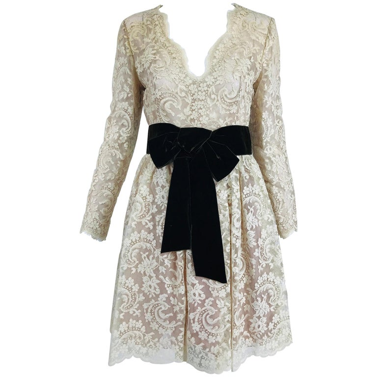 Vintage Rembrandt 1960s Cream Lace Baby Doll Dress For Sale