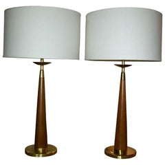 Vintage Rembrandt Wood and Brass Lamps, Pair
