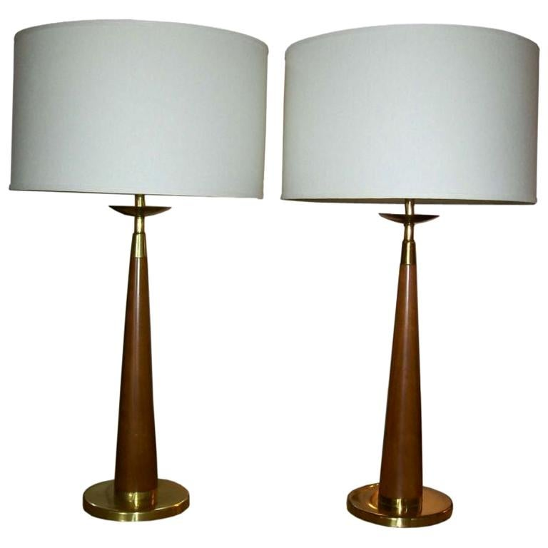 Vintage Rembrandt Wood and Brass Lamps, Pair For Sale