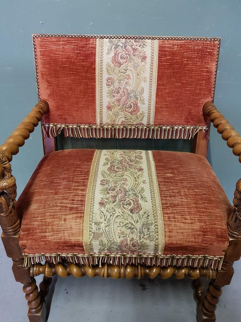 European Vintage Renaissance Style Nutwood Armchair with Carved Armrests of 2 Ladies For Sale