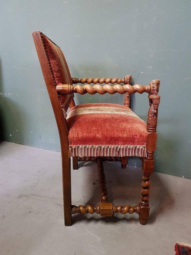 Vintage Renaissance Style Nutwood Armchair with Carved Armrests of 2 Ladies For Sale 1