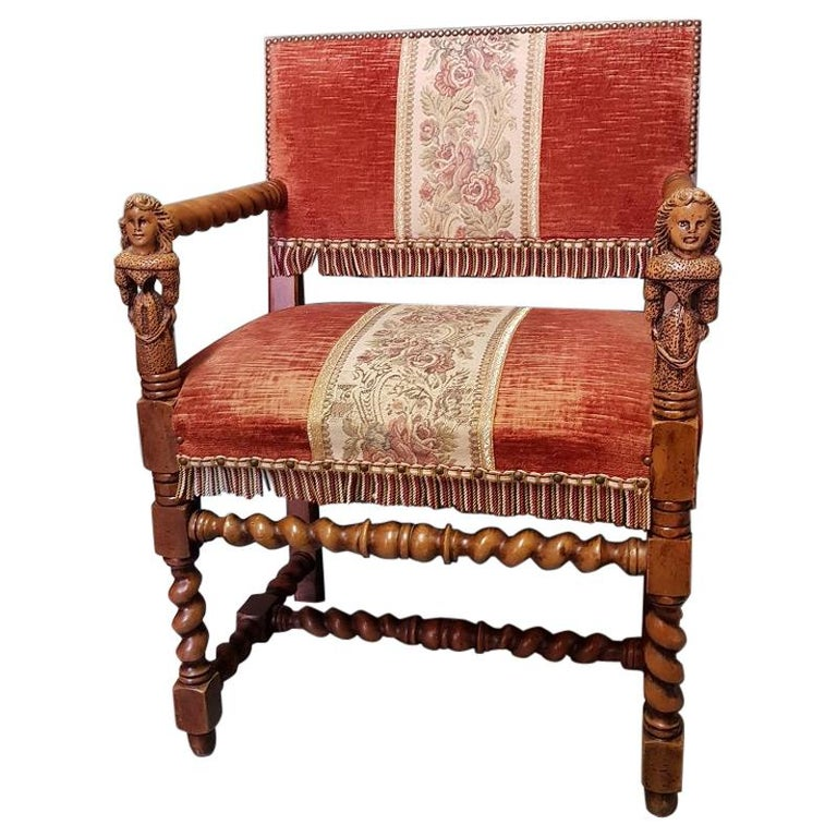 Vintage Renaissance Style Nutwood Armchair with Carved Armrests of 2 Ladies For Sale