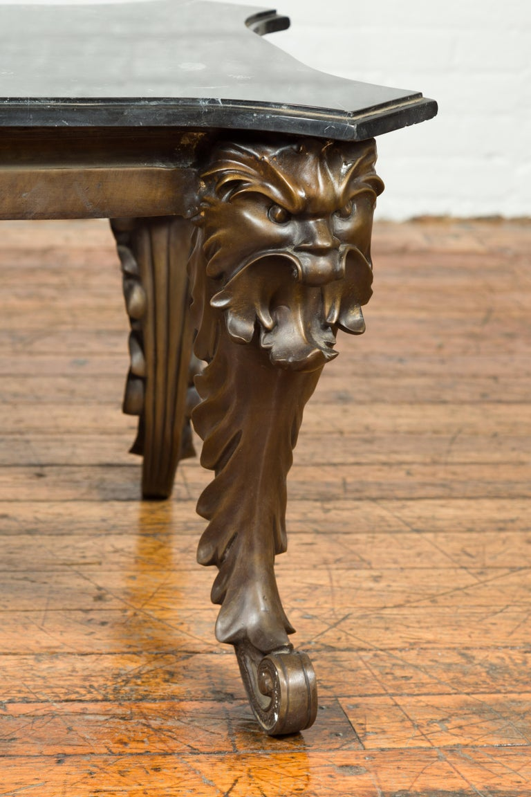Bronze Vintage Renaissance Style Side Table with Grotesque Motifs and Black Marble Top For Sale