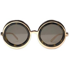 Vintage Renauld Round Gold Frame Brown Lens 1980 Sunglasses Made in USA