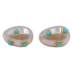 Vintage Replica Italy Faux Pearls Earrings 1980's