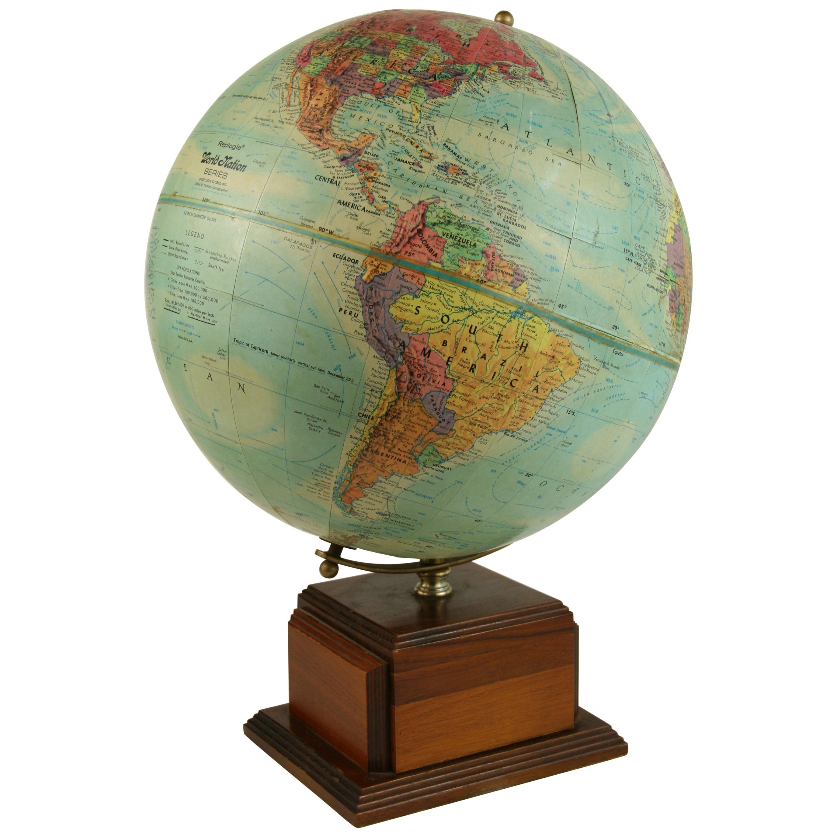Vintage Reploge Terrestrial World Globe