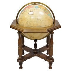 Vintage Replogle Large Lighted Globe on Cherry Stand Base