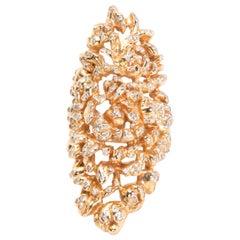 Vintage Repossi Cocktail Diamond Ring in 18 Karat Yellow Gold 1.75 Carat